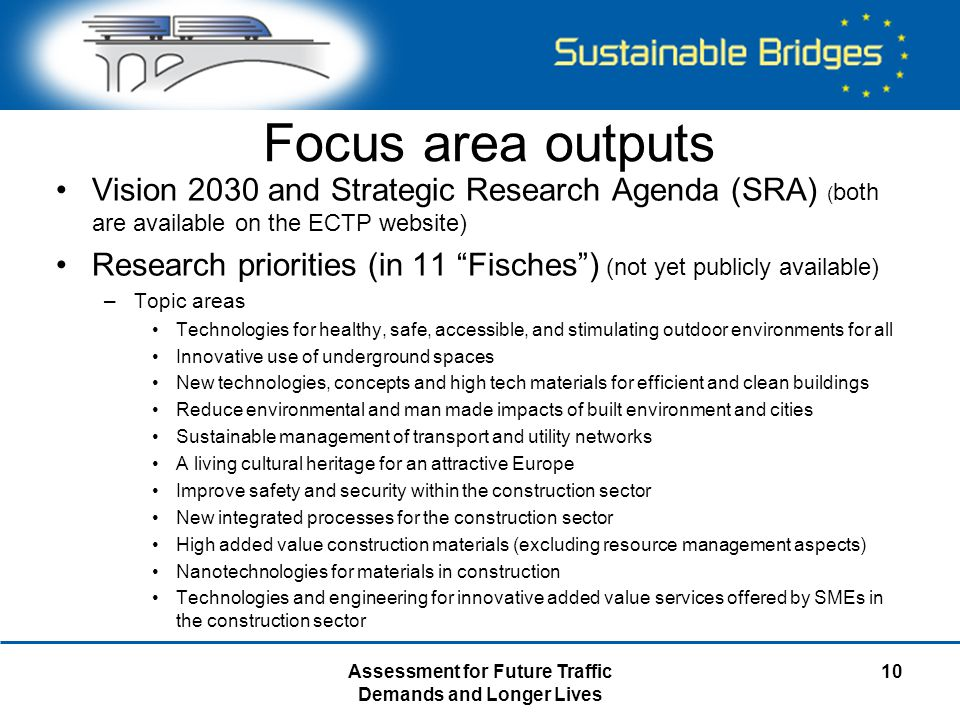 Assessment for Future Traffic Demands and Longer Lives 10 Focus area outputs Vision 2030 and Strategic Research Agenda (SRA) ( both are available on t