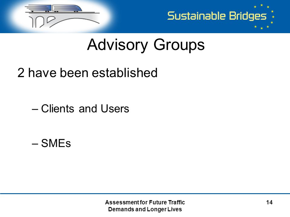 Assessment for Future Traffic Demands and Longer Lives 14 Advisory Groups 2 have been established –Clients and Users –SMEs