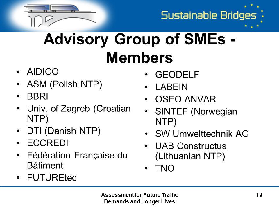 Assessment for Future Traffic Demands and Longer Lives 19 Advisory Group of SMEs - Members AIDICO ASM (Polish NTP) BBRI Univ.