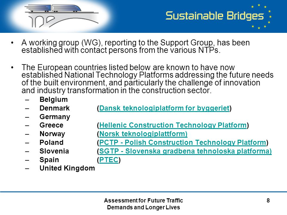 Assessment for Future Traffic Demands and Longer Lives 8 A working group (WG), reporting to the Support Group, has been established with contact perso