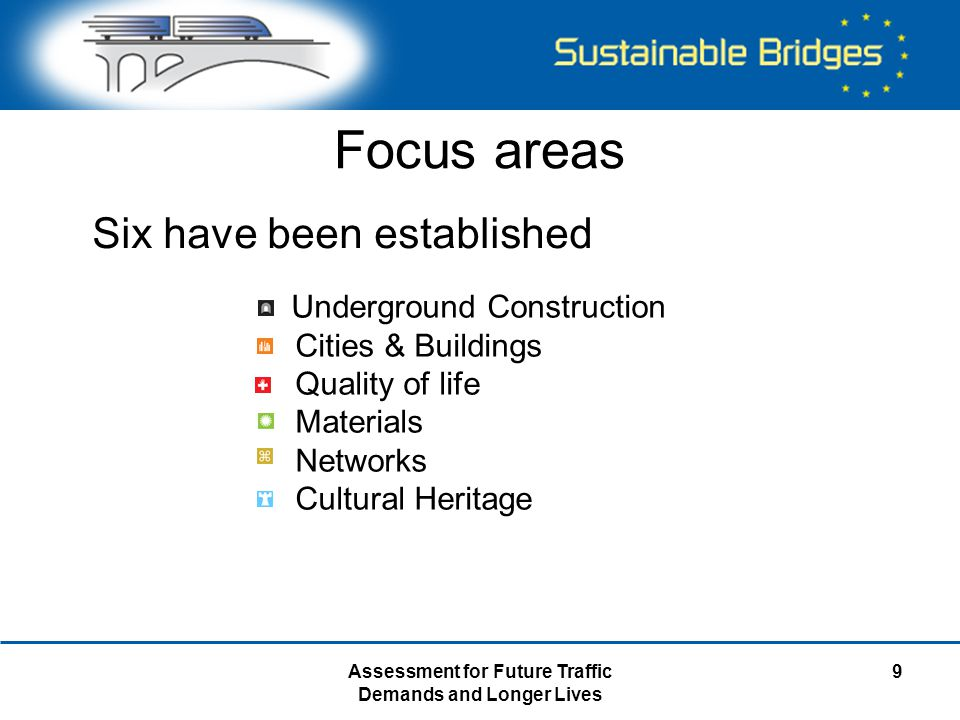Assessment for Future Traffic Demands and Longer Lives 9 Focus areas Underground Construction Cities & Buildings Quality of life Materials Networks Cu