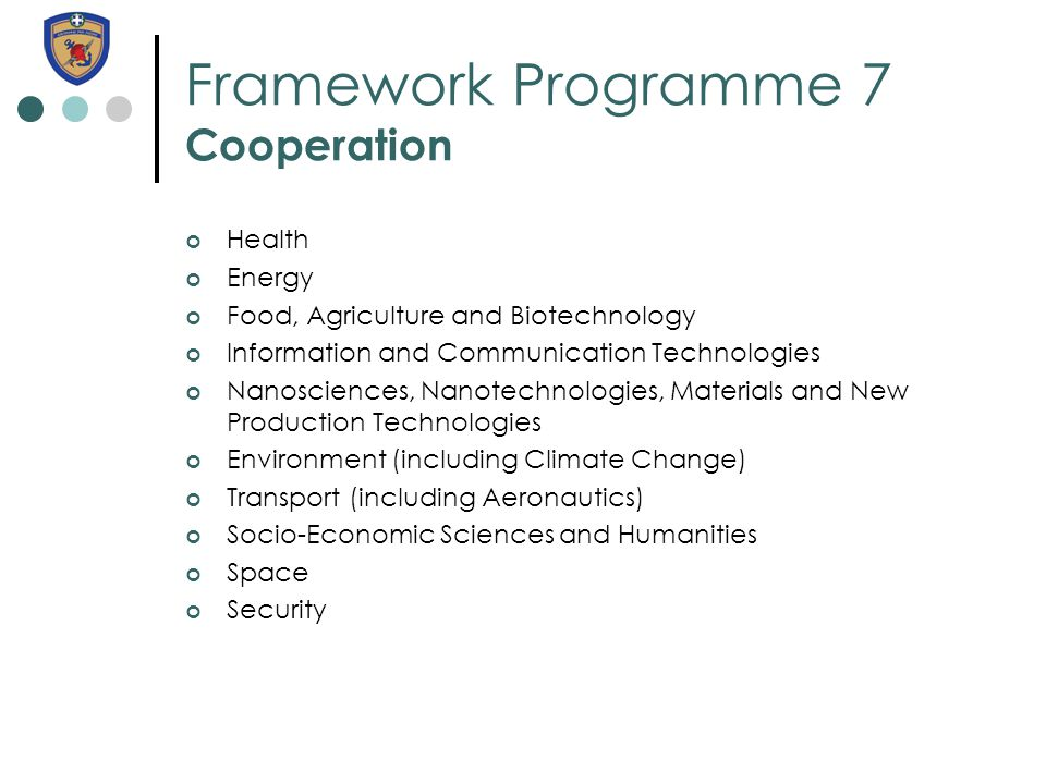 Framework Programme 7 Cooperation Health Energy Food, Agriculture and Biotechnology Information and Communication Technologies Nanosciences, Nanotechn
