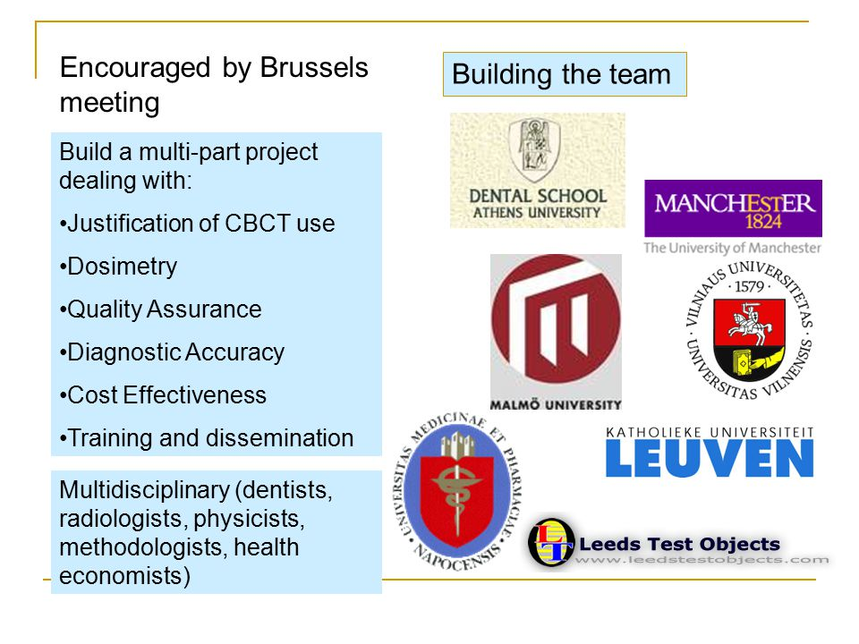 Encouraged by Brussels meeting Build a multi-part project dealing with: Justification of CBCT use Dosimetry Quality Assurance Diagnostic Accuracy Cost