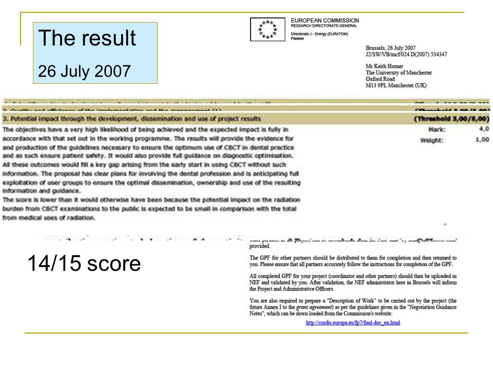 The result 26 July 2007 14/15 score