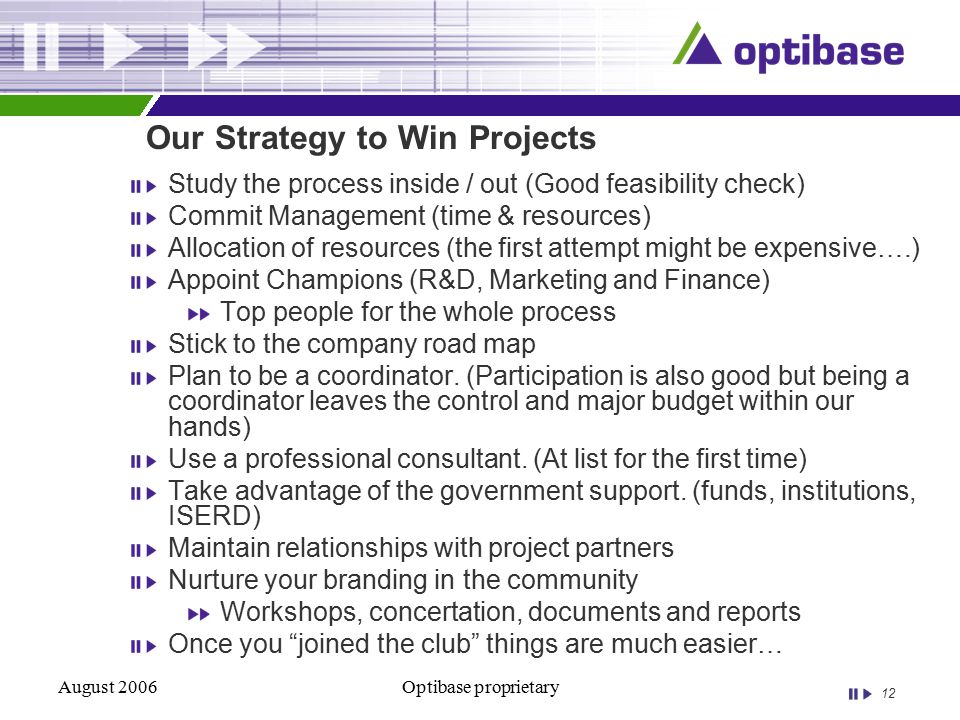 12 August 2006Optibase proprietary Our Strategy to Win Projects Study the process inside / out (Good feasibility check) Commit Management (time & resources) Allocation of resources (the first attempt might be expensive….) Appoint Champions (R&D, Marketing and Finance) Top people for the whole process Stick to the company road map Plan to be a coordinator.