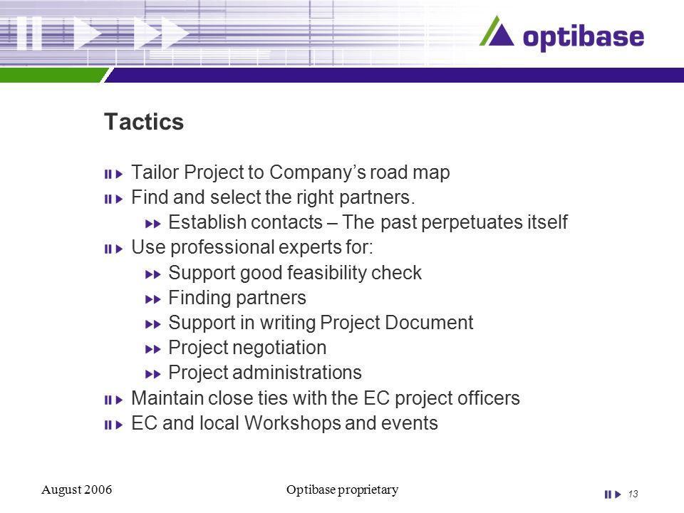 13 August 2006Optibase proprietary Tactics Tailor Project to Company's road map Find and select the right partners.