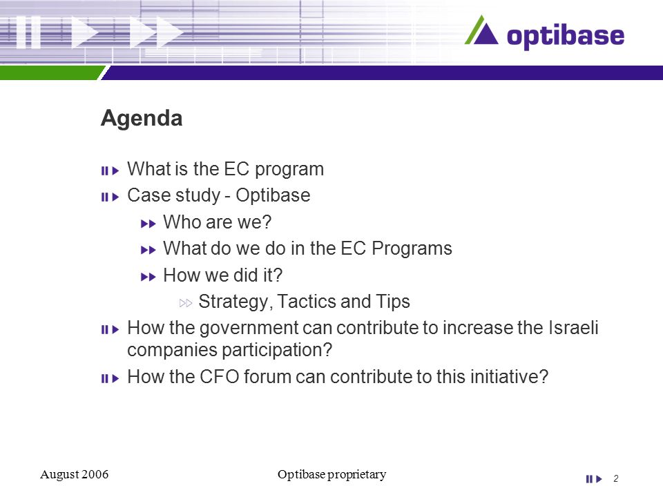2 August 2006Optibase proprietary Agenda What is the EC program Case study - Optibase Who are we.