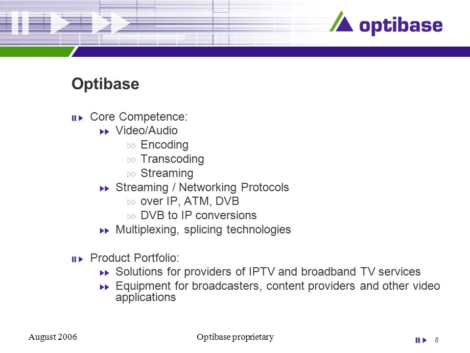 8 August 2006Optibase proprietary Optibase Core Competence: Video/Audio Encoding Transcoding Streaming Streaming / Networking Protocols over IP, ATM, DVB DVB to IP conversions Multiplexing, splicing technologies Product Portfolio: Solutions for providers of IPTV and broadband TV services Equipment for broadcasters, content providers and other video applications