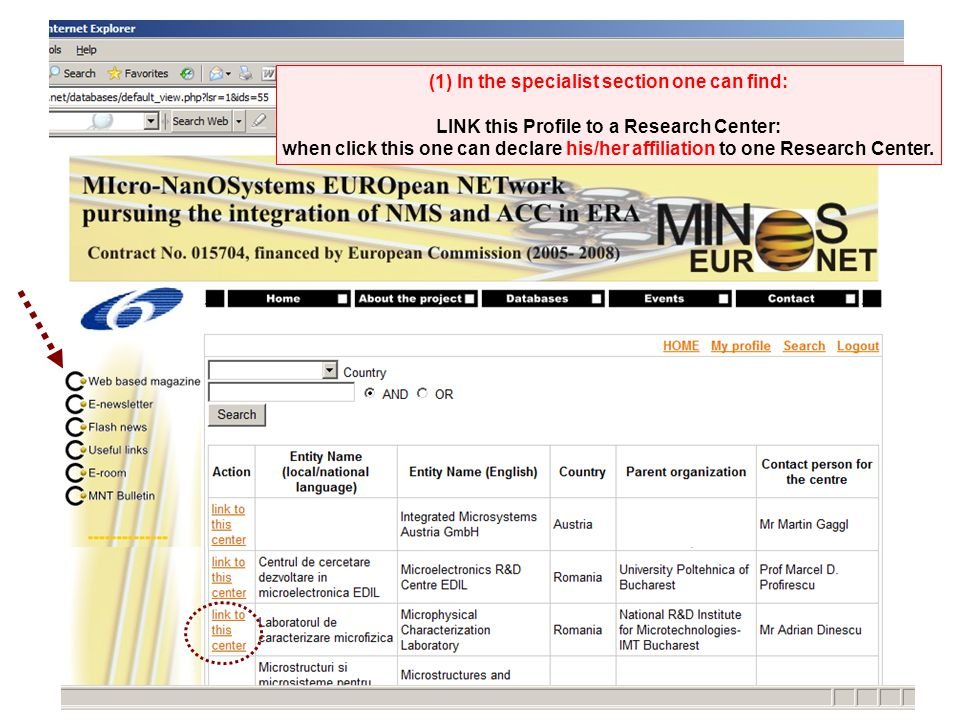 (1) In the specialist section one can find: LINK this Profile to a Research Center: when click this one can declare his/her affiliation to one Research Center.