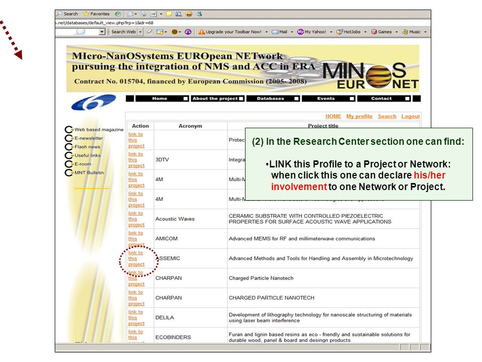 (2) In the Research Center section one can find: LINK this Profile to a Project or Network: when click this one can declare his/her involvement to one Network or Project.