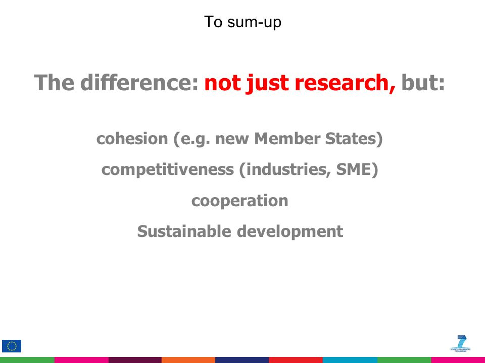 To sum-up The difference: not just research, but: cohesion (e.g. new Member States) competitiveness (industries, SME) cooperation Sustainable developm