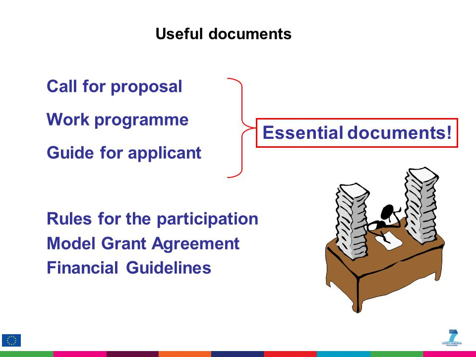Official documents Call for proposal Work programme Guide for applicant Rules for the participation Model Grant Agreement Financial Guidelines Essenti