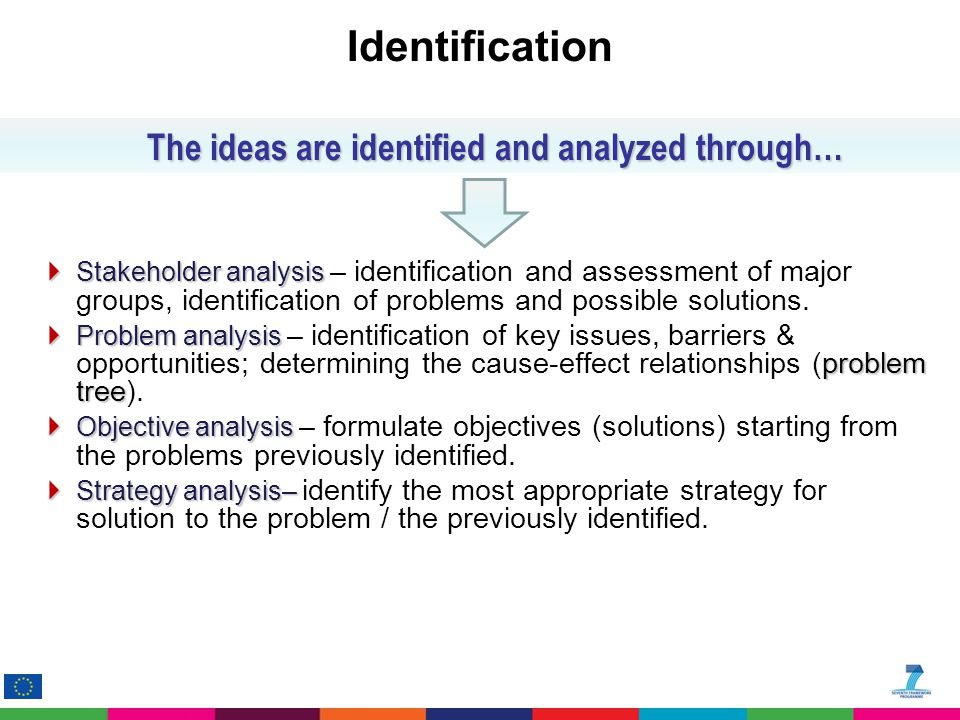 Identification  Stakeholder analysis  Stakeholder analysis – identification and assessment of major groups, identification of problems and possible