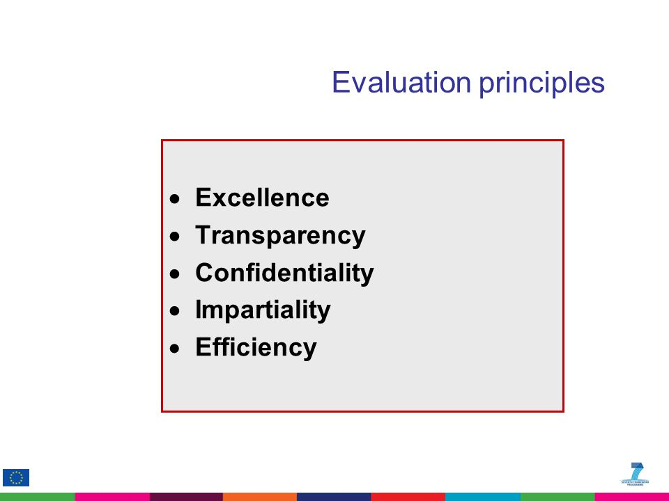 Evaluation principles  Excellence  Transparency  Confidentiality  Impartiality  Efficiency