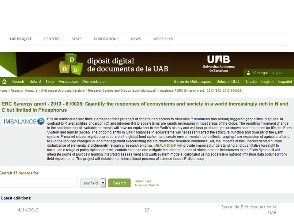 4/14/201523 Servei de Biblioteques de la UAB Connecting DDD – Research Group web page