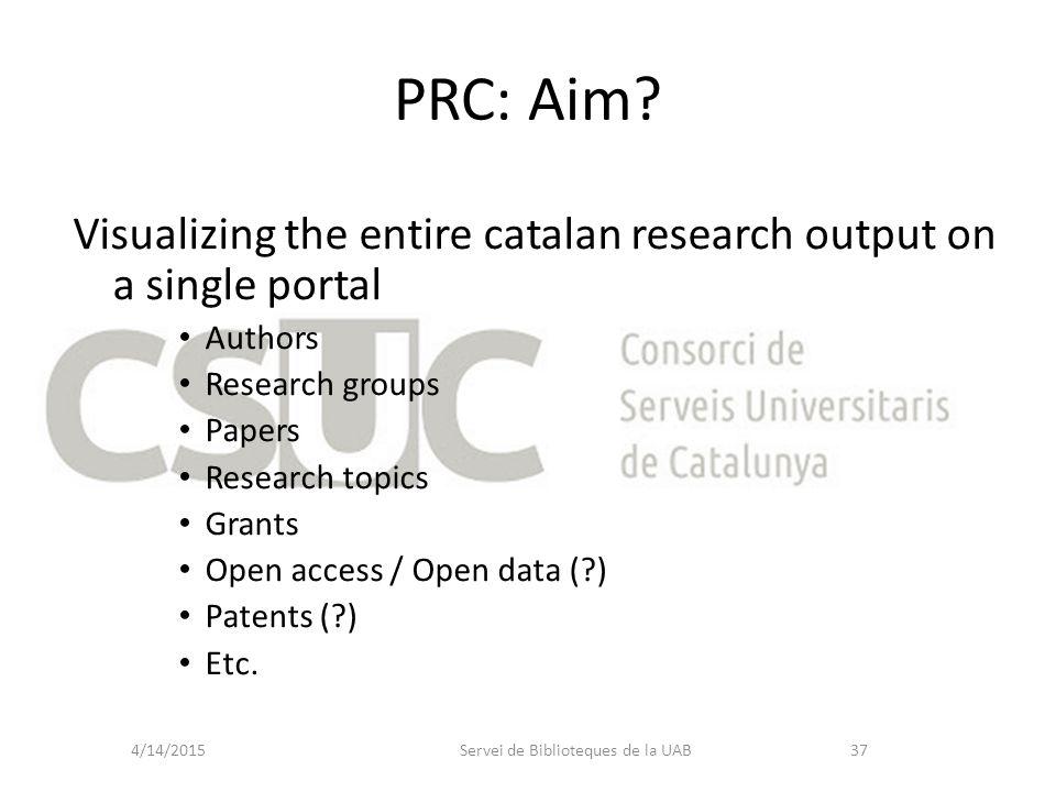 PRC: Aim? Servei de Biblioteques de la UAB4/14/201537 Visualizing the entire catalan research output on a single portal Authors Research groups Papers