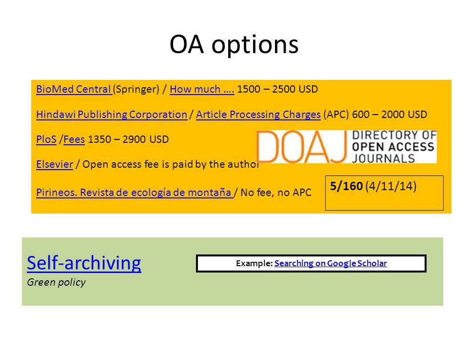 OA options BioMed Central BioMed Central (Springer) / How much ….