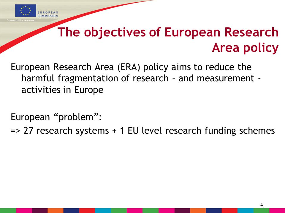 4 The objectives of European Research Area policy European Research Area (ERA) policy aims to reduce the harmful fragmentation of research – and measu