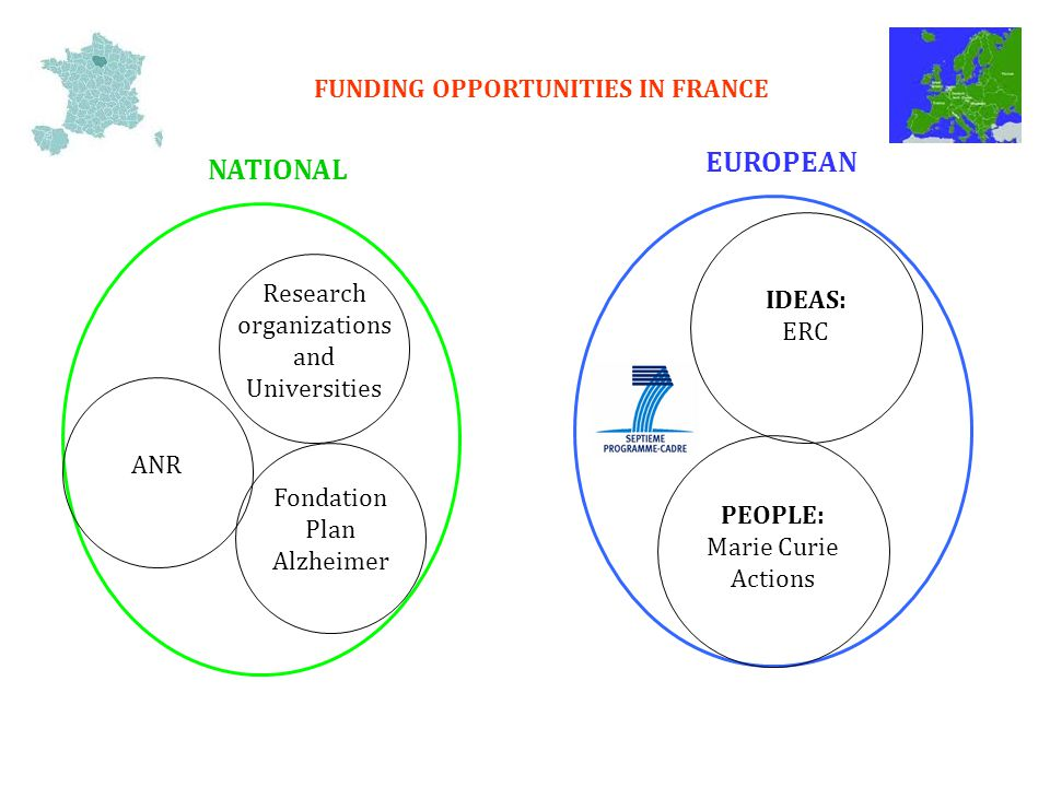 FUNDING OPPORTUNITIES IN FRANCE Research organizations and Universities ANR Fondation Plan Alzheimer NATIONAL EUROPEAN IDEAS: ERC PEOPLE: Marie Curie