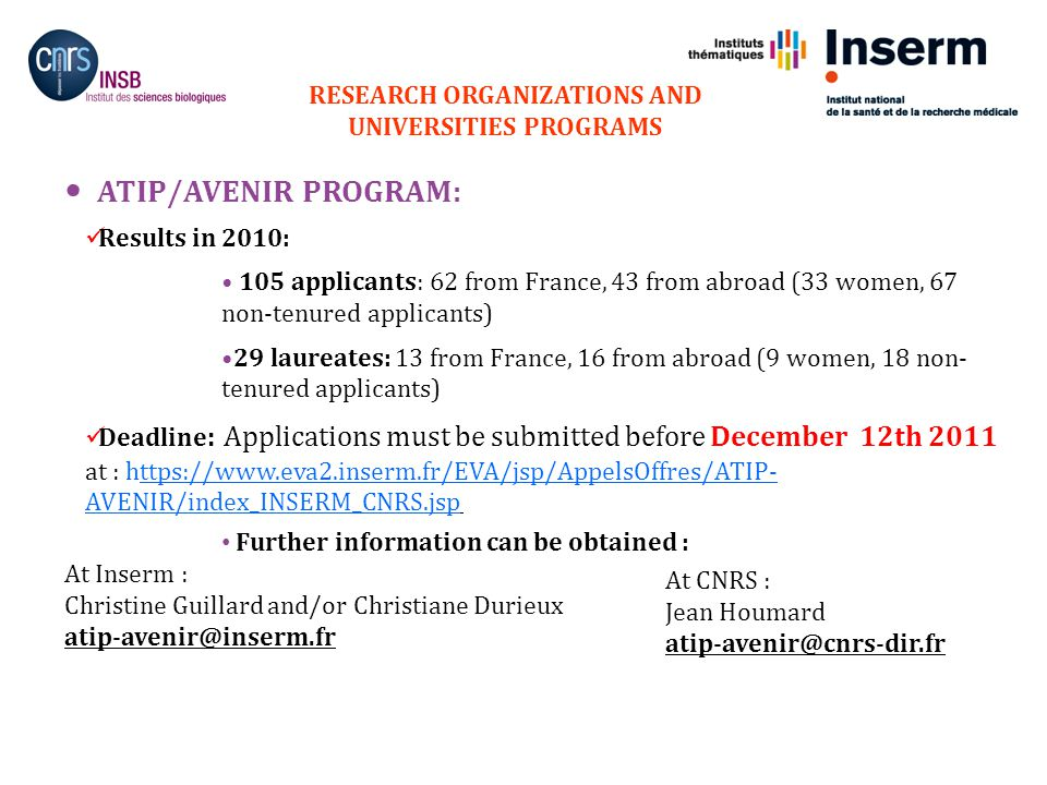 15 ATIP/AVENIR PROGRAM: Results in 2010: 105 applicants: 62 from France, 43 from abroad (33 women, 67 non-tenured applicants) 29 laureates: 13 from France, 16 from abroad (9 women, 18 non- tenured applicants) Deadline : Applications must be submitted before December 12th 2011 at : https://www.eva2.inserm.fr/EVA/jsp/AppelsOffres/ATIP- AVENIR/index_INSERM_CNRS.jsp Further information can be obtained : At Inserm : Christine Guillard and/or Christiane Durieux atip-avenir@inserm.fr RESEARCH ORGANIZATIONS AND UNIVERSITIES PROGRAMS At CNRS : Jean Houmard atip-avenir@cnrs-dir.fr 15.11.2011