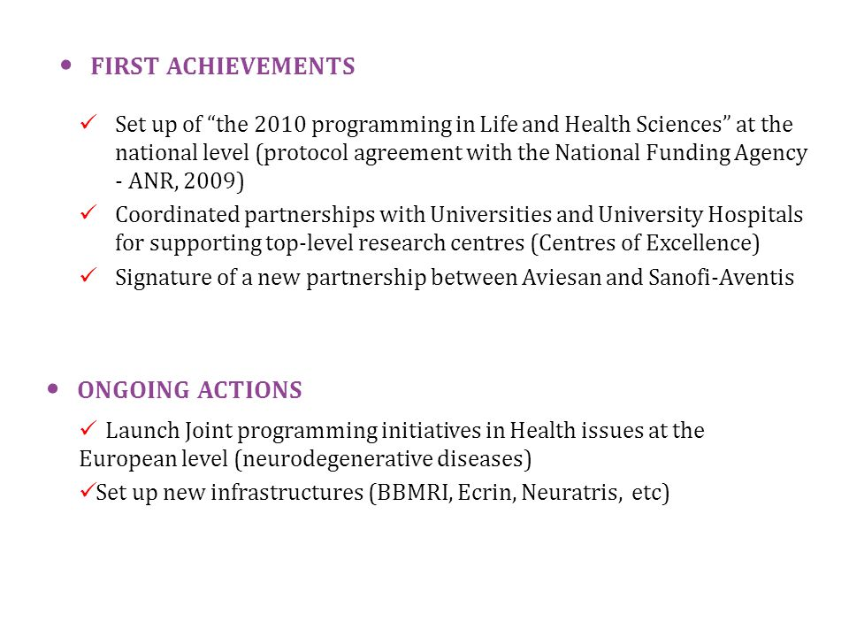 "Set up of ""the 2010 programming in Life and Health Sciences"" at the national level (protocol agreement with the National Funding Agency - ANR, 2009) C"