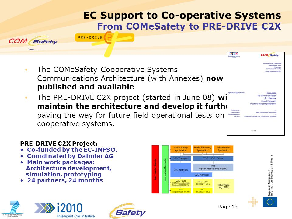 Page 13 13 EC Support to Co-operative Systems From COMeSafety to PRE-DRIVE C2X The COMeSafety Cooperative Systems Communications Architecture (with Annexes) now published and available The PRE-DRIVE C2X project (started in June 08) will maintain the architecture and develop it further, paving the way for future field operational tests on cooperative systems.