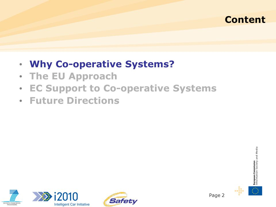 Page 2 Content Why Co-operative Systems.