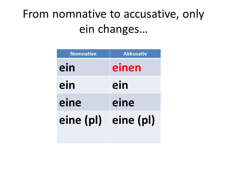 From nomnative to accusative, only ein changes… NomnativeAkkusativ eineinen ein eine eine (pl)
