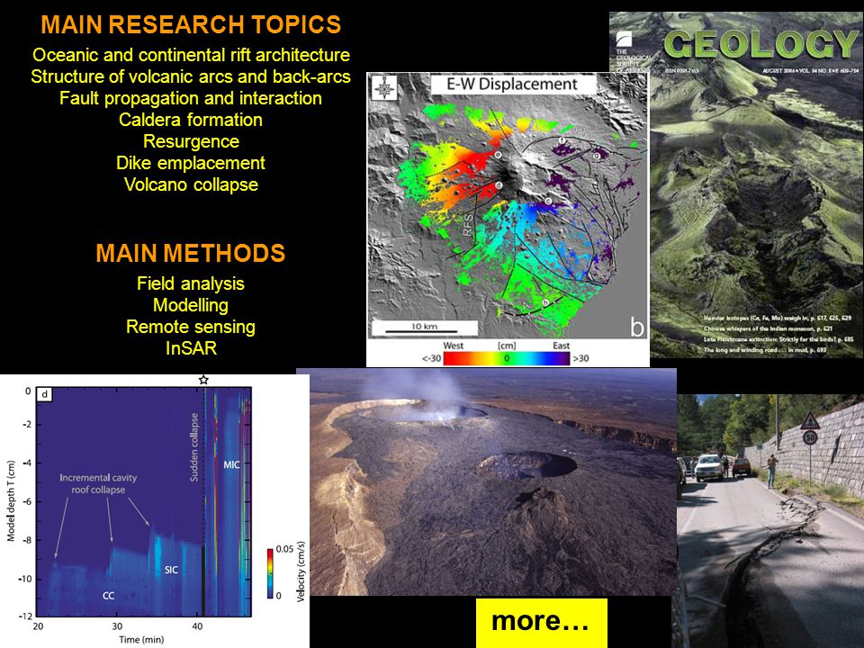 MAIN RESEARCH TOPICS Oceanic and continental rift architecture Structure of volcanic arcs and back-arcs Fault propagation and interaction Caldera form