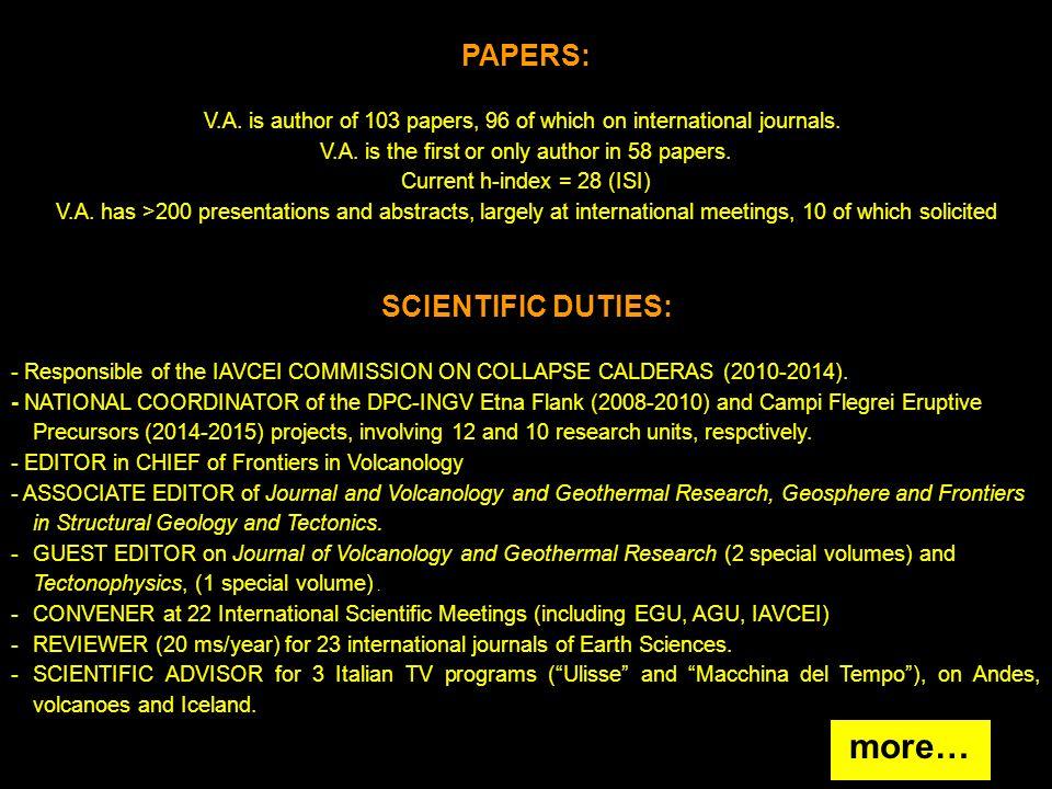 MAIN COLLABORATIONS : - Dipartimento Scienze della Terra, Pisa, Italy.