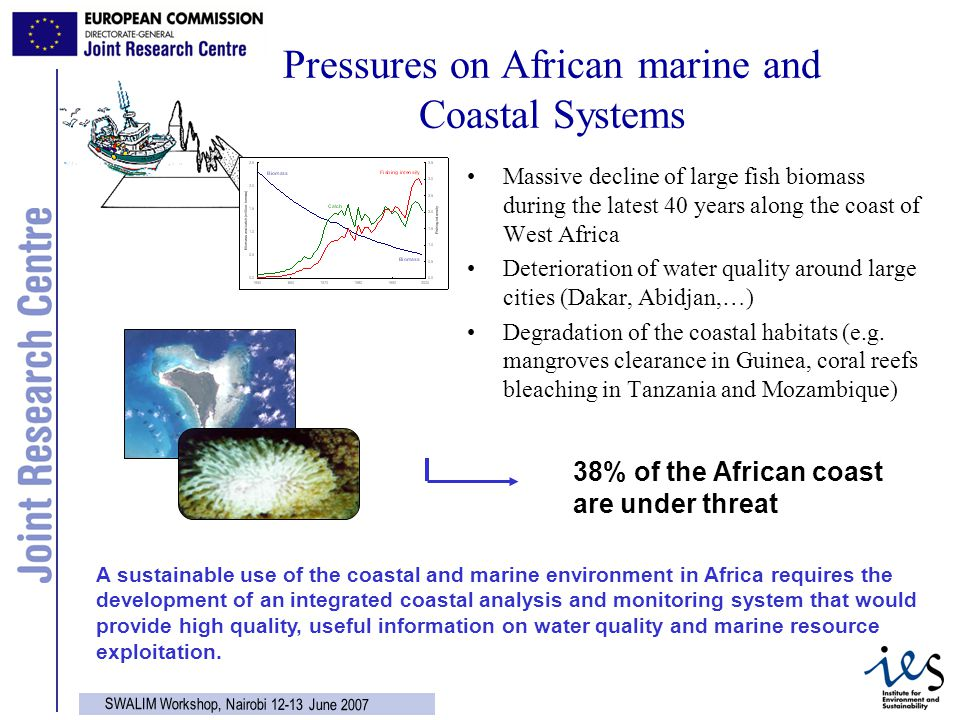 2 SWALIM Workshop, Nairobi 12-13 June 2007 Pressures on African marine and Coastal Systems Massive decline of large fish biomass during the latest 40 years along the coast of West Africa Deterioration of water quality around large cities (Dakar, Abidjan,…) Degradation of the coastal habitats (e.g.