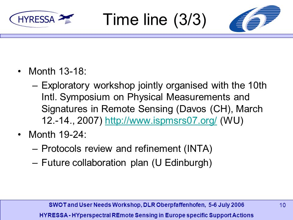 SWOT and User Needs Workshop, DLR Oberpfaffenhofen, 5-6 July 2006 HYRESSA - HYperspectral REmote Sensing in Europe specific Support Actions 10 Time line (3/3) Month 13-18: –Exploratory workshop jointly organised with the 10th Intl.