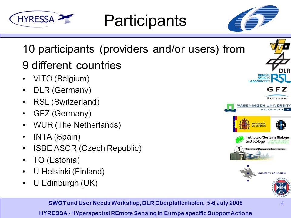 SWOT and User Needs Workshop, DLR Oberpfaffenhofen, 5-6 July 2006 HYRESSA - HYperspectral REmote Sensing in Europe specific Support Actions 4 Participants 10 participants (providers and/or users) from 9 different countries VITO (Belgium) DLR (Germany) RSL (Switzerland) GFZ (Germany) WUR (The Netherlands) INTA (Spain) ISBE ASCR (Czech Republic) TO (Estonia) U Helsinki (Finland) U Edinburgh (UK)