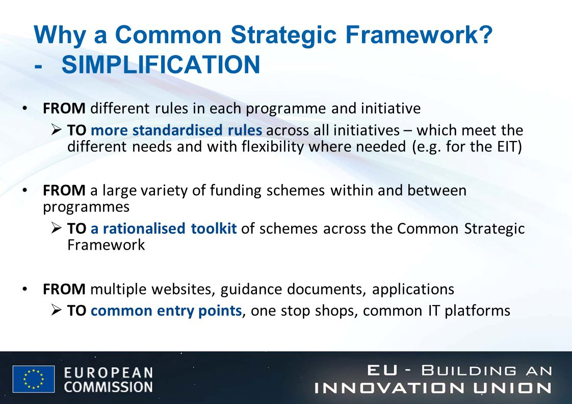 Why a Common Strategic Framework.