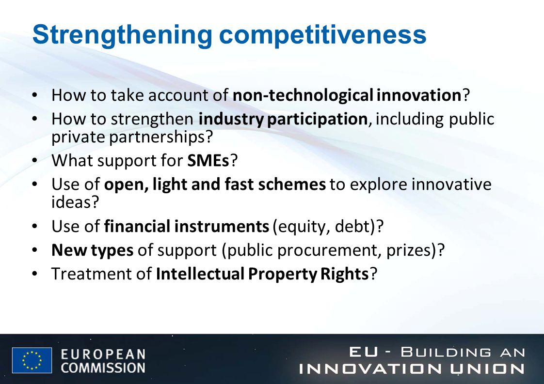 Strengthening competitiveness How to take account of non-technological innovation.