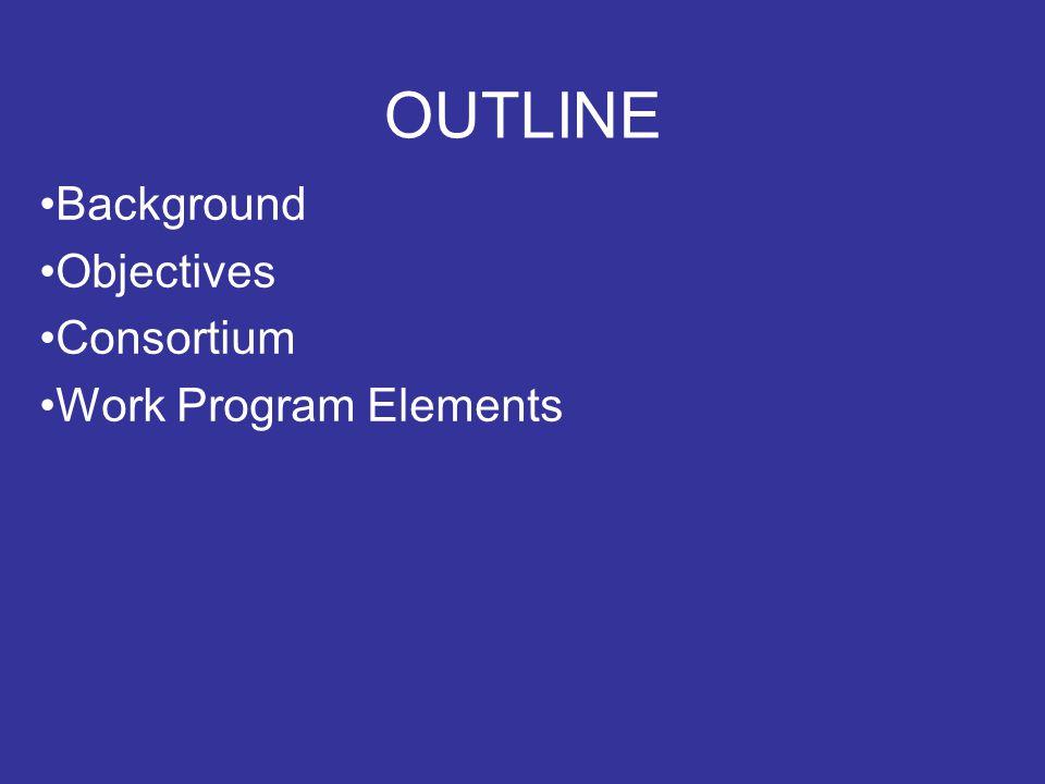 OUTLINE Background Objectives Consortium Work Program Elements