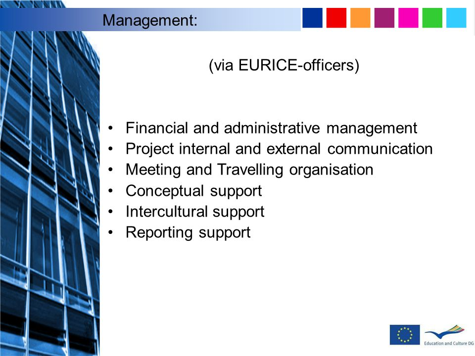 (via EURICE-officers) Financial and administrative management Project internal and external communication Meeting and Travelling organisation Conceptual support Intercultural support Reporting support Management: