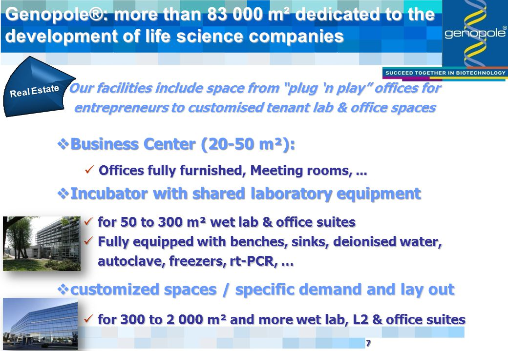 18 18  20 research labs - 900 jobs -  70 biotech companies – 1 000 jobs-  A comprehensive 83 000 m² real estate offer  A team dedicated to development  Services and a Europe Grant service  17 platforms and equipments  Corbeil Evry Hospital & Clinical and Translational Research Center  GMP Biomanufacturing Center opening soon and 4 others biomanufacturing project running Our achievements...