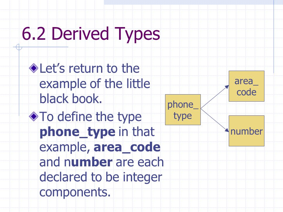 6.2 Derived Types Let's return to the example of the little black book.