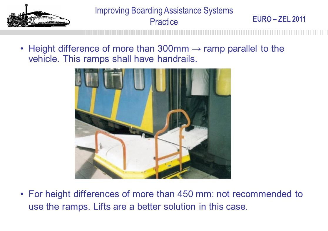EURO – ZEL 2011 Improving Boarding Assistance Systems Practice Height difference of more than 300mm → ramp parallel to the vehicle. This ramps shall h