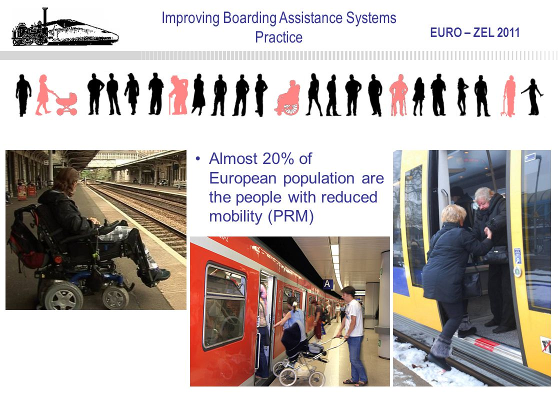 EURO – ZEL 2011 Improving Boarding Assistance Systems Practice Almost 20% of European population are the people with reduced mobility (PRM)