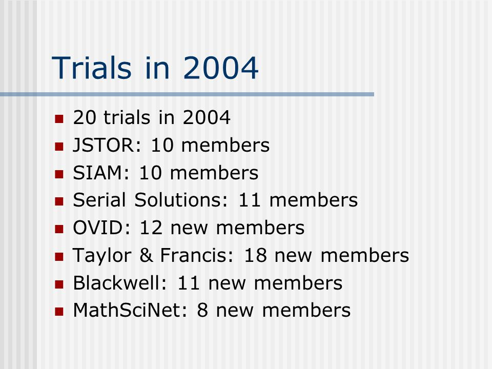 Trials in 2004 20 trials in 2004 JSTOR: 10 members SIAM: 10 members Serial Solutions: 11 members OVID: 12 new members Taylor & Francis: 18 new members Blackwell: 11 new members MathSciNet: 8 new members