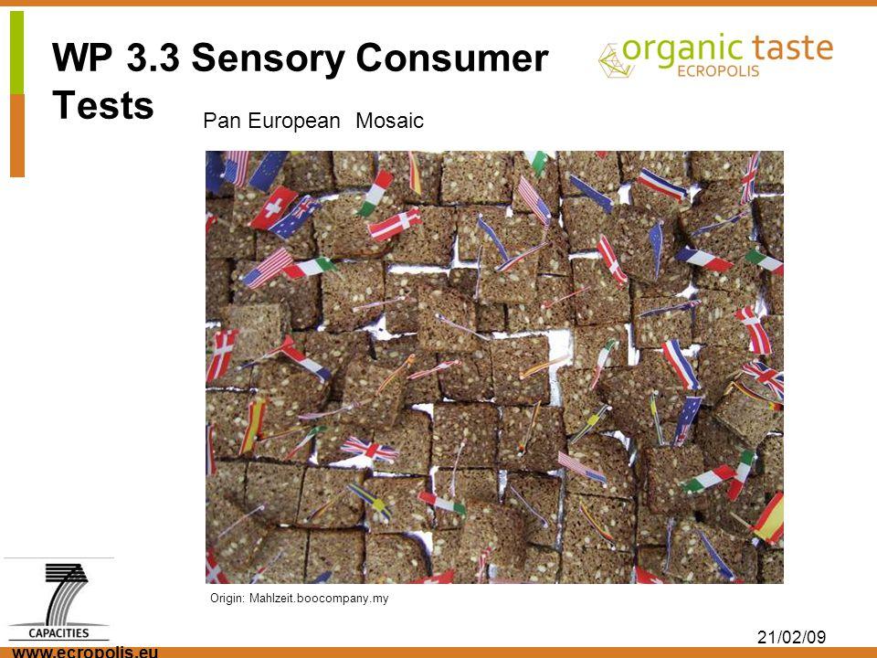 www.ecropolis.eu 21/02/09 Origin: Mahlzeit.boocompany.my Pan European Mosaic WP 3.3 Sensory Consumer Tests