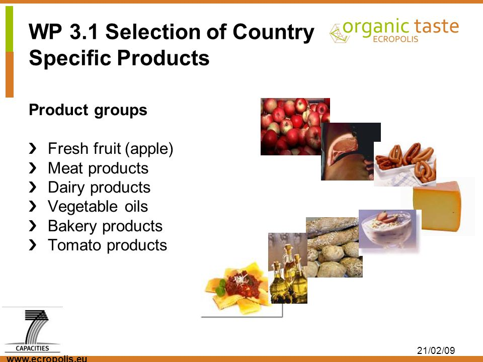 www.ecropolis.eu 21/02/09 WP 3.1 Selection of Country Specific Products Product groups Fresh fruit (apple) Meat products Dairy products Vegetable oils