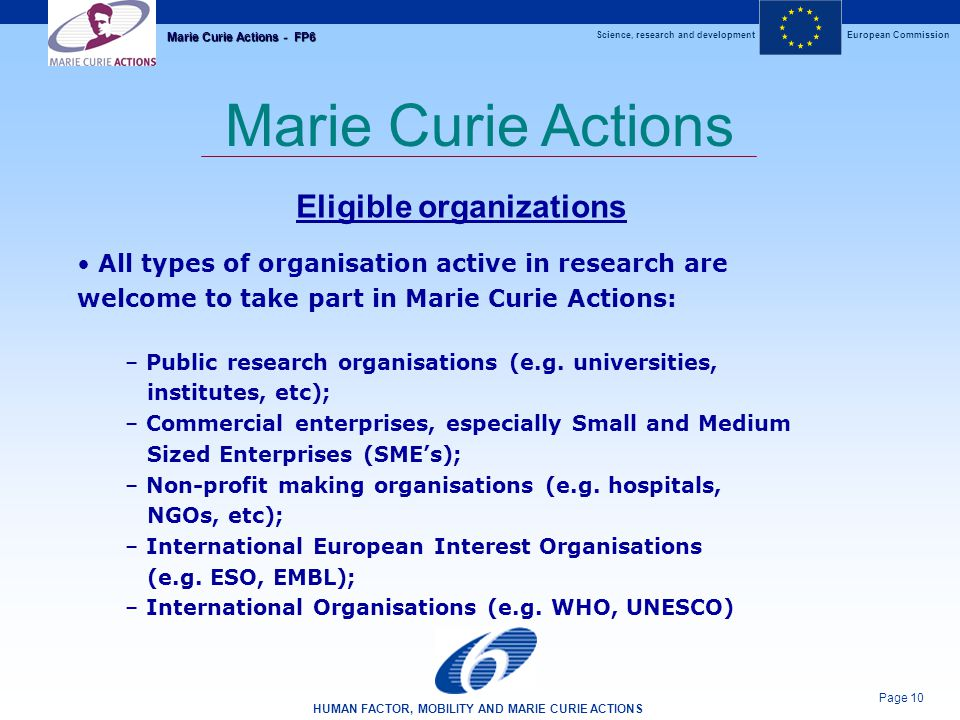 Science, research and developmentEuropean Commission HUMAN FACTOR, MOBILITY AND MARIE CURIE ACTIONS Page 10 Marie Curie Actions - FP6 Marie Curie Actions Eligible organizations All types of organisation active in research are welcome to take part in Marie Curie Actions: – Public research organisations (e.g.
