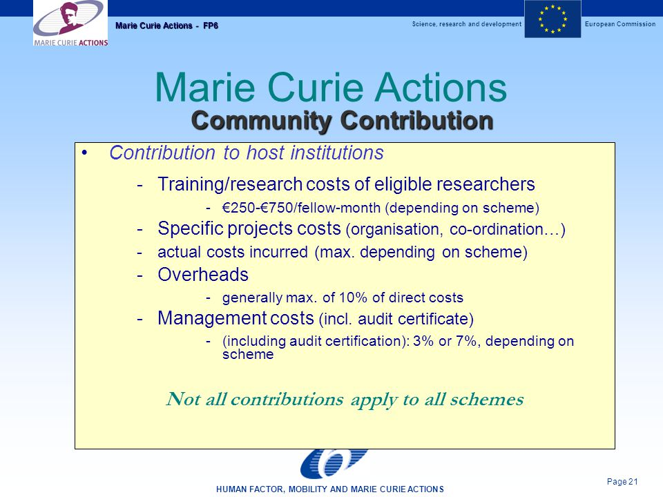Science, research and developmentEuropean Commission HUMAN FACTOR, MOBILITY AND MARIE CURIE ACTIONS Page 21 Marie Curie Actions - FP6 Marie Curie Actions Contribution to host institutions -Training/research costs of eligible researchers -€250-€750/fellow-month (depending on scheme) -Specific projects costs (organisation, co-ordination…) -actual costs incurred (max.