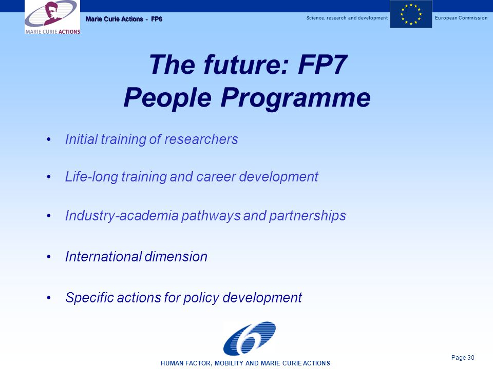 Science, research and developmentEuropean Commission HUMAN FACTOR, MOBILITY AND MARIE CURIE ACTIONS Page 30 Marie Curie Actions - FP6 The future: FP7 People Programme Initial training of researchers Life-long training and career development Industry-academia pathways and partnerships International dimension Specific actions for policy development
