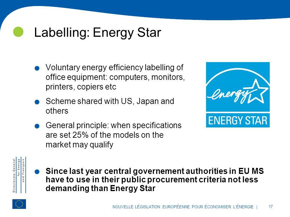 | 17 NOUVELLE LÉGISLATION EUROPÉENNE POUR ÉCONOMISER L'ÉNERGIE Labelling: Energy Star. Voluntary energy efficiency labelling of office equipment: comp