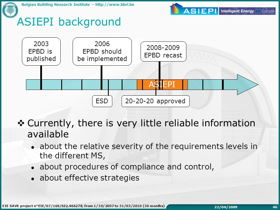 Belgian Building Research Institute –   EIE SAVE project n°EIE/07/169/SI , from 1/10/2007 to 31/03/2010 (30 months) 22/04/ ASIEPI background 2003 EPBD is published 2006 EPBD should be implemented EPBD recast ESD approved  Currently, there is very little reliable information available about the relative severity of the requirements levels in the different MS, about procedures of compliance and control, about effective strategies ASIEPI