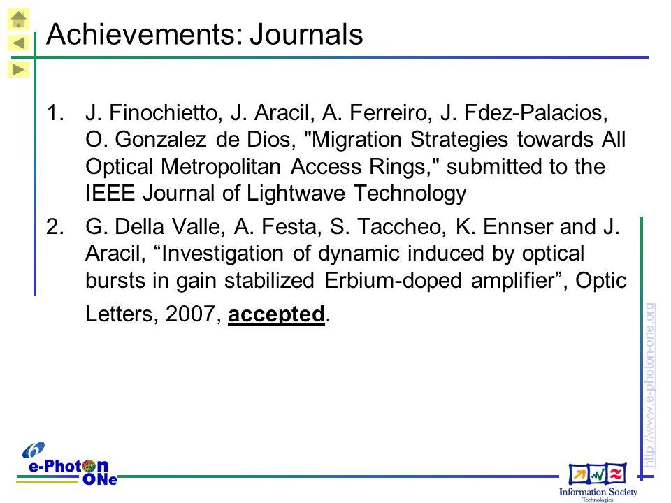 http://www.e-photon-one.org Achievements: Journals 1.J.